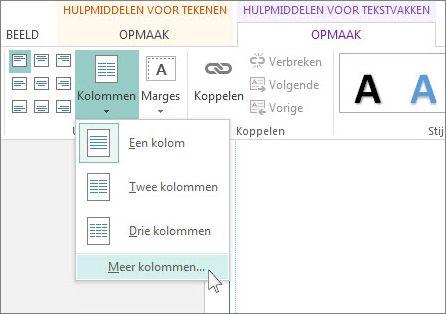 Hulpmiddelen voor tekstvakken - Afstand tussen kolommen