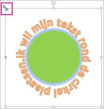 Formaatgreep op WordArt waarmee u het formaat kunt wijzigen