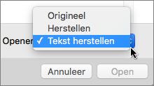Klik op Openen > Tekst herstellen en open vervolgens uw beschadigde documenten om ze te herstellen