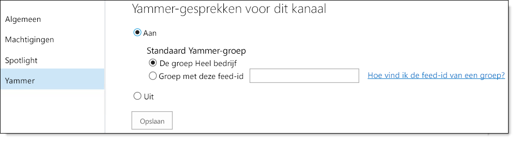 Yammer-instellingen video O365