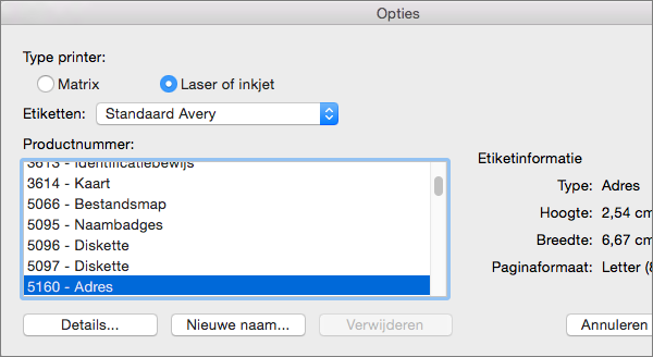 Selecteer een labelmerk en selecteer vervolgens het specifieke productnummer.