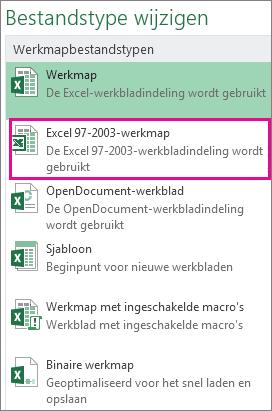 Indeling Excel 97-2003-werkmap