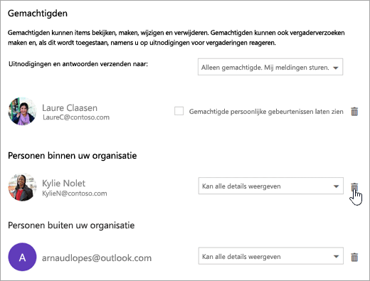 Schermafbeelding van het dialoogvenster Deze agenda delen.