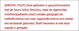 Details van een fout met een adreslijstsynchronisatie van een gebruiker