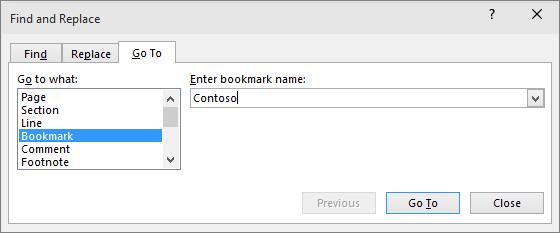 Het tabblad Ga naar in het dialoogvenster Zoeken en vervangen wordt weergegeven.