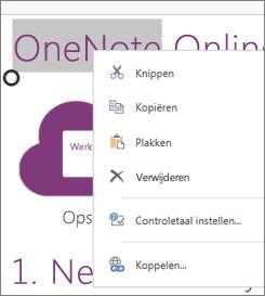 Contextmenu in OneNote Online op een apparaat met aanraakbediening