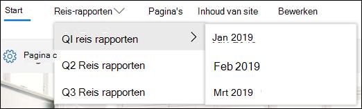 Voorbeeld van het menu trapsgewijs van SharePoint