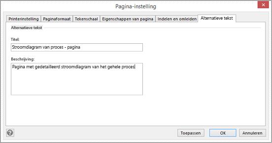 Dialoogvenster Alternatieve tekst voor een pagina in Visio.