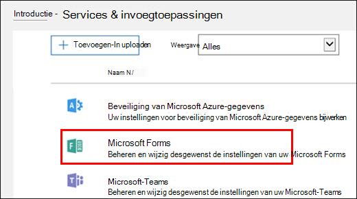 Beheerinstellingen van Microsoft Forms