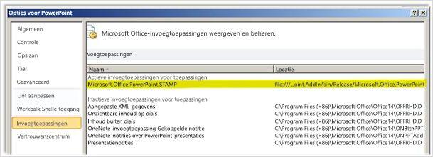 PowerPoint-opties, scherm Invoegtoepassingen met STAMP gemarkeerd