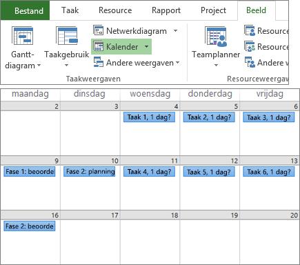 Samengestelde schermafbeelding van de groepen Taakweergaven en Resourceweergaven op het tabblad Beeld en een projectplan in de agendaweergave.