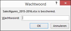 Een wachtwoord invoeren om een beveiligd bestand te openen