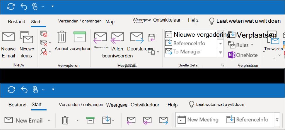 U kunt nu kiezen uit twee verschillende lint functies in Outlook.