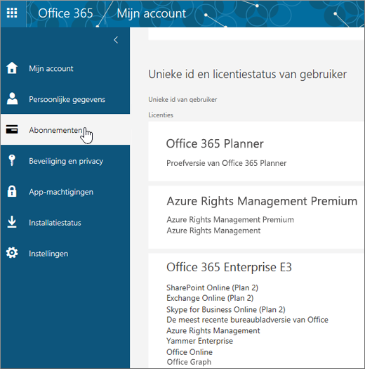 Office 365-pagina Abonnementen