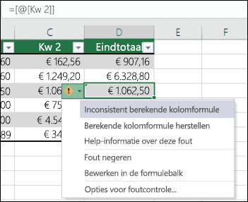 Foutmelding over inconsistente formule in een Excel-tabel