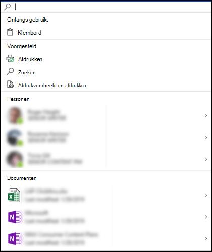 Het vak Microsoft Search is geselecteerd