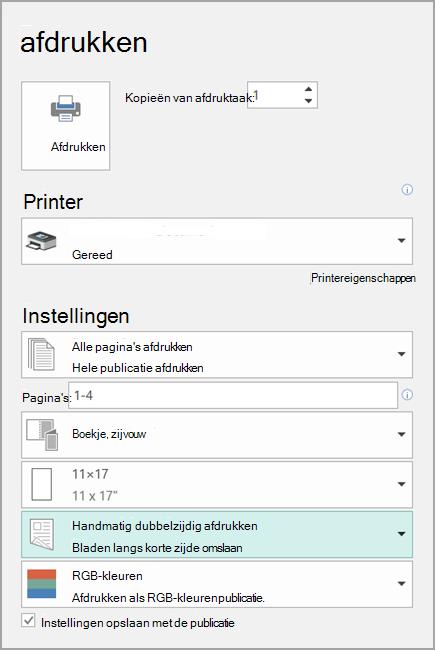 Printerinstellingen