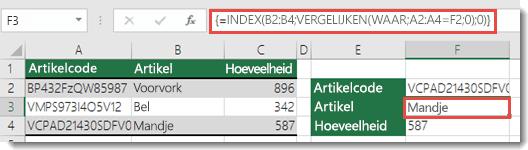 Als u INDEX/VERGELIJKEN gebruikt met een opzoekwaarde van meer dan 255 tekens, moet dit worden ingevoerd als matrixformule.  De formule in cel F3 is =INDEX(B2:B4;VERGELIJKEN(WAAR;A2:A4=F2;0);0) en wordt ingevoerd door op Ctrl+Shift+Enter te drukken