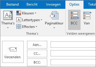 U kunt het BCC-vak inschakelen door een nieuw bericht te openen, het tabblad Opties te kiezen en in de groep Velden weergeven BCC te kiezen.