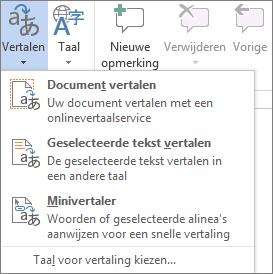 Beschikbare hulpmiddelen voor vertalen in Office-programma's