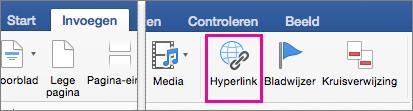 Op het tabblad Invoegen is Hyperlink gemarkeerd