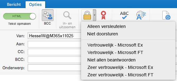 Nieuwe versleuteloptie met ondersteuning voor Office 365-berichtversleuteling, Niet doorsturen en IRM-sjablonen