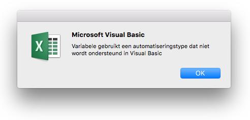 Fout in Microsoft Visual Basic: Variabele maakt gebruik van een automatiseringstype dat niet wordt ondersteund in Visual Basic.