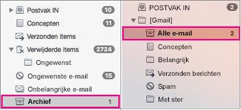 Weergave naast elkaar van de mappenlijst van Exchange en Gmail, met de archiefmappen gemarkeerd