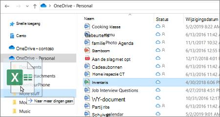Schermafbeelding van het verplaatsen van een bestand naar een andere map in OneDrive.