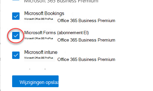 Microsoft Forms-wisselknop