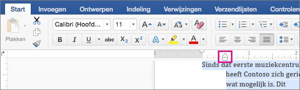 De inspringmarkering is gemarkeerd op de liniaal.