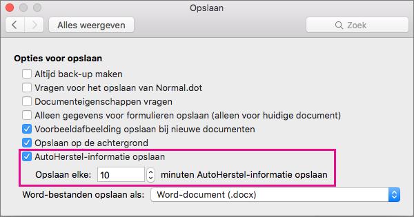In het dialoogvenster Opslaan selecteert u AutoHerstel-gegevens opslaan en vervolgens stelt u het interval in door het aantal minuten op te geven in het vak Opslaan elke.