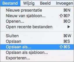 Toont met menu Bestand > Opslaan als in PowerPoint 2016 voor Mac.