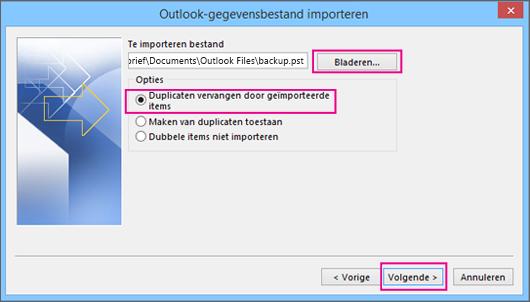 Kies het .pst-bestand dat u wilt importeren.