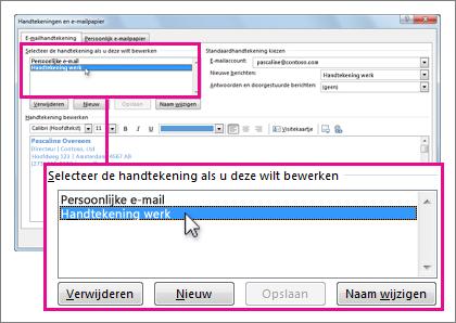 Selecteer de handtekening die u wilt bewerken in het vak Handtekeningen en e-mailpapier