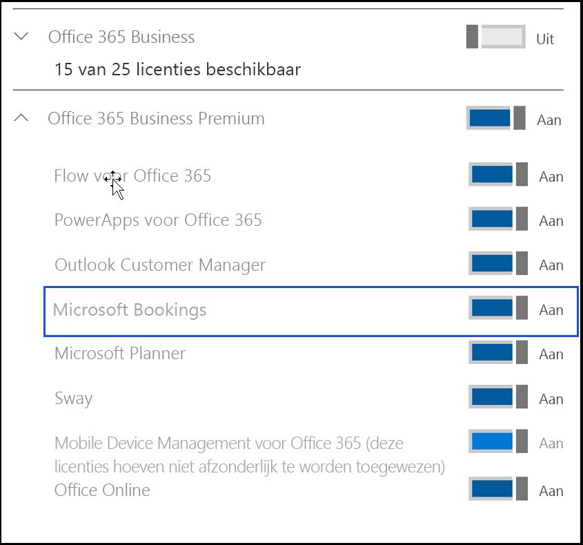Schermopname met de Microsoft Bookings-instelling die moet worden uitgeschakeld in de productlicenties van de gebruiker.
