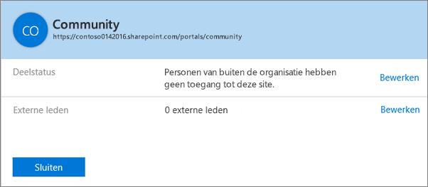 Dialoogvenster Status van delen voor een specifieke siteverzameling waarvoor het delen is uitgeschakeld.