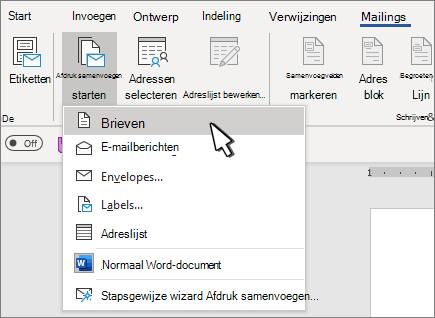 Start menu voor Afdruk samenvoegen met letters geselecteerd
