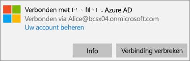 Klik of tik in het dialoogvenster Verbonden met Azure AD op Info.