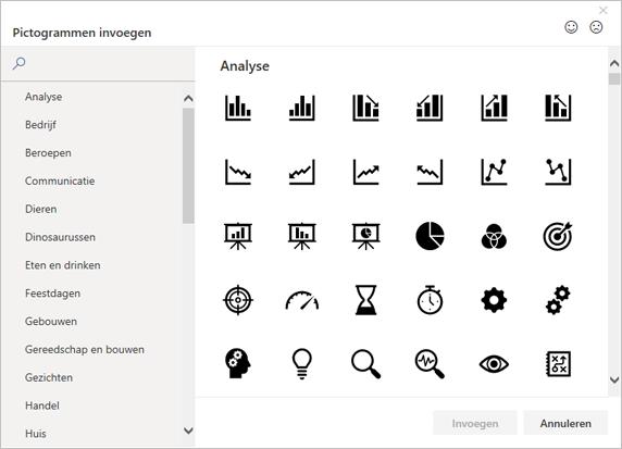 U kunt in de pictogrambibliotheek in Office een pictogram kiezen dat u wilt invoegen