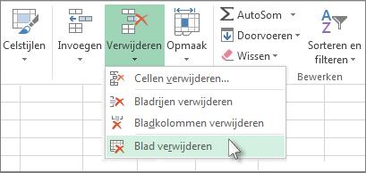 Klik op de pijl onder Verwijderen en klik op Blad verwijderen
