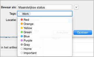 Label, naam en opslaglocatie voor e-mailsjabloon instellen