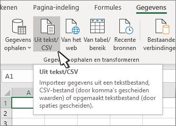 Tekst/CSV selecteren op het tabblad Gegevens