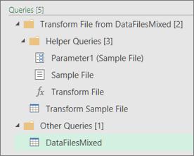 Een lijst met de query's die zijn gemaakt in het deelvenster Query's