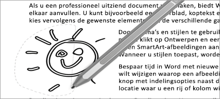 Hiermee wordt de selectie van een lasso in een document weergegeven
