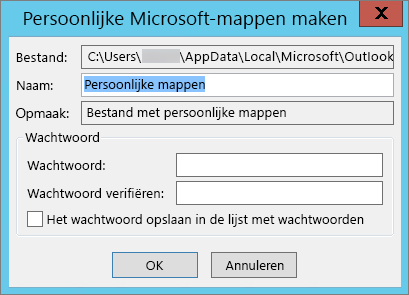 Kies OK als u het .pst-bestand niet met een wachtwoord wilt beveiligen.