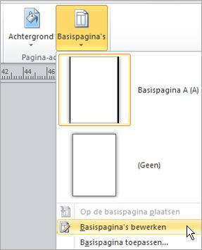 Basispagina's bewerken in het menu basispagina's selecteren
