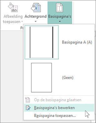 Schermafbeelding van de vervolgkeuzelijst Basispagina's bewerken  in Publisher.