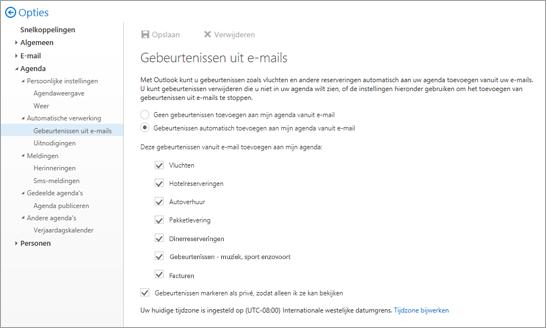 Schermafbeelding van de instellingenpagina voor gebeurtenissen van e-mail