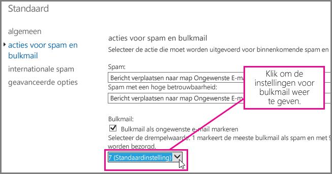 Het filter voor bulkmail instellen in Exchange Online